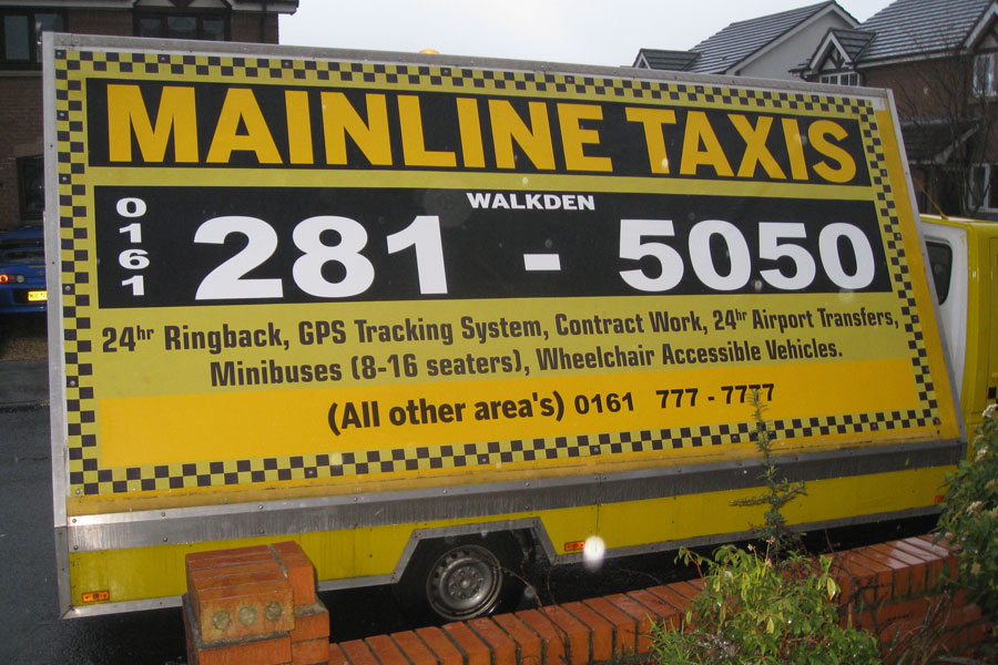 Mainline Taxis salford manchester signage