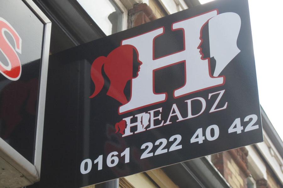 headz hair dressers manchester signage eccles