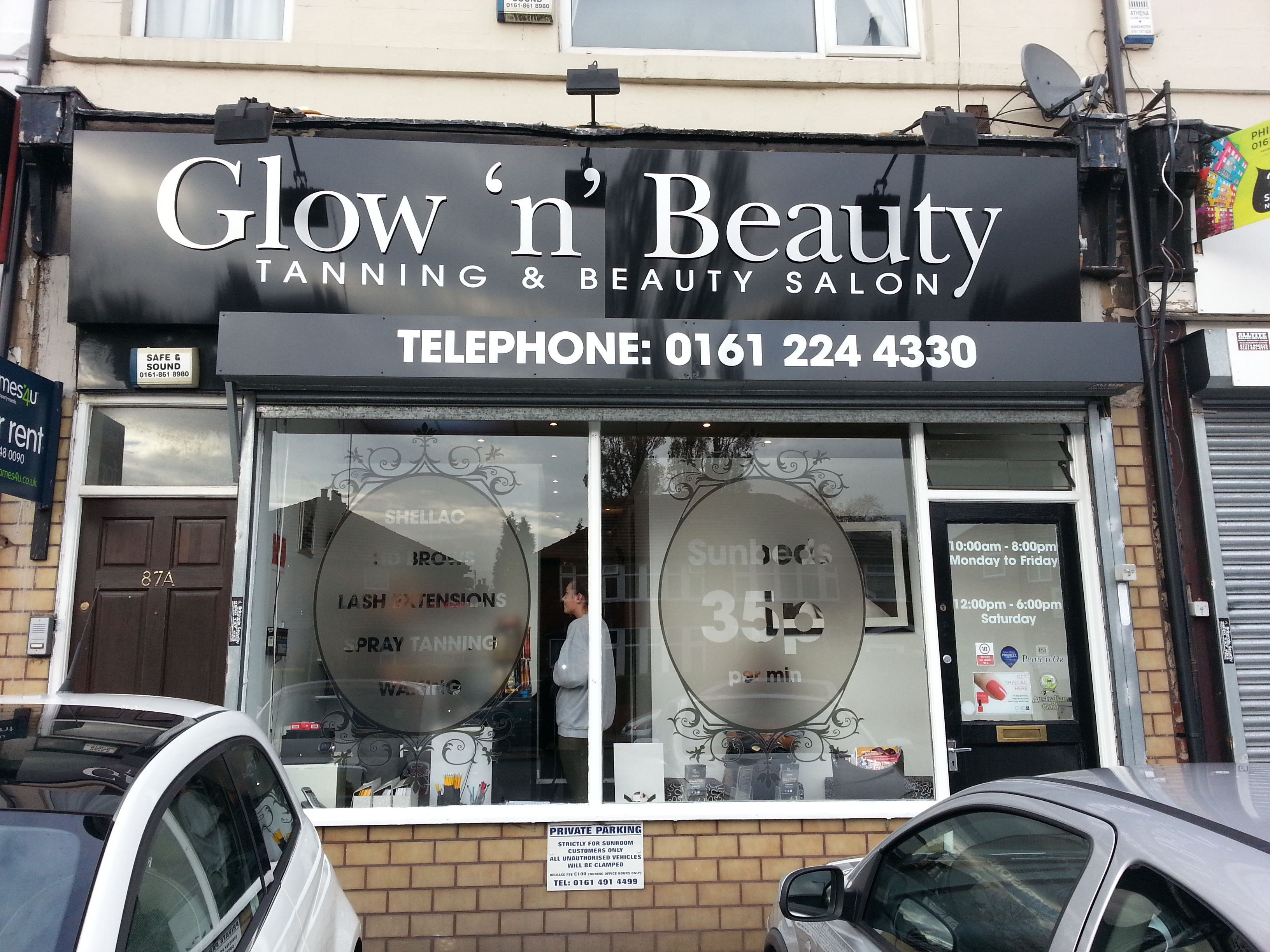 Glow N Beauty Shop Sign Window Graphics Manchester