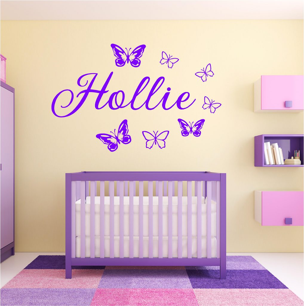 Personalised name wall stickers uk home design personalised girls name butterfly wall art sticker amipublicfo Choice Image